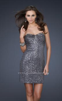 Picture of: Sequin Strapless Short Dress with Sweetheart Neckline in Silver, Style: 16955, Main Picture