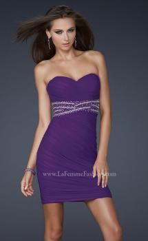 Picture of: Strapless Short Dress with Empire Waist and Beading in Purple, Style: 16956, Main Picture