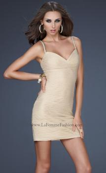 Picture of: Spaghetti Strap Cocktail Dress with Metallic Net Detail in Nude, Style: 16994, Main Picture