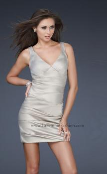 Picture of: Sultry Satin Cocktail Dress with V Neckline and Pleats in Nude, Style: 17022, Main Picture
