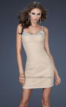 Picture of: Short Net Cocktail Dress with Scoop Neck and Jewels in Nude, Style: 17026, Main Picture