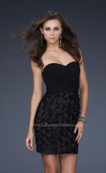 Picture of: Little Black Dress with Gathered Bust and Flower Details in Black, Style: 17033, Main Picture