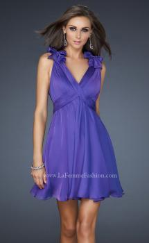Picture of: Two Tone Chiffon Short Dress with Bows and Cut Outs, Style: 17044, Main Picture