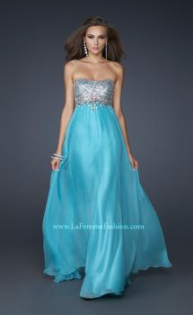 Picture of: Long Strapless Chiffon Prom Dress with Full Gathered Skirt in Aqua, Style: 17058, Main Picture