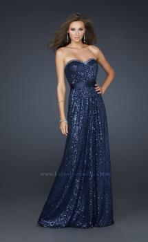 Picture of: Long Sequin Prom Dress with Satin Belt and Rhinestones in Navy, Style: 17059, Main Picture