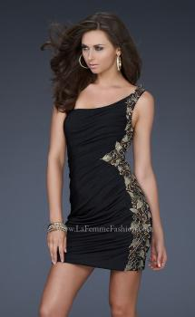 Picture of: Jersey Short Dress with Hand Painted Flower Design in Black, Style: 17065, Main Picture