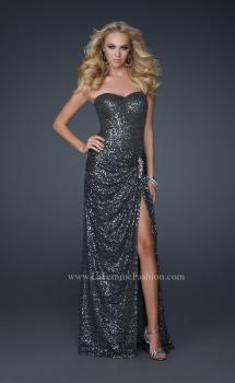 Picture of: Long Sequined Prom Dress with Sweetheart Neck and Slit, Style: 17104, Main Picture