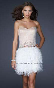 Picture of: Short Dress with Embellished Bodice and Feather Skirt in Nude, Style: 17106, Main Picture