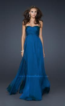 Picture of: Classic Long Chiffon Prom Gown with Pleated Detail in Navy, Style: 17111, Main Picture
