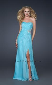Picture of: Sexy Strapless Chiffon Gown with Beading and Leg Slit in Aqua, Style: 17112, Main Picture