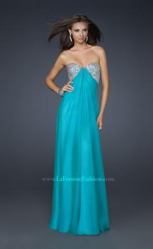 Picture of: Long Chiffon Dress with Beaded Bust and Low Back in Teal, Style: 17118, Main Picture