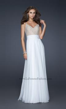 Picture of: Chiffon Prom Dress with Criss Cross Pattern and V Back in White, Style: 17138, Main Picture