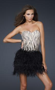 Picture of: Short Feather Cocktail Dress with Sequined Bodice in in Nude, Style: 17151, Main Picture