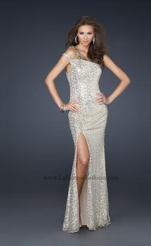 Picture of: Stretch Sequin Off the Shoulder Prom Dress with Beads in Gold, Style: 17154, Main Picture