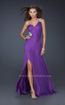 Picture of: One Shoulder Strap Prom Dress with Beaded Hip Design in Purple, Style: 17157, Main Picture