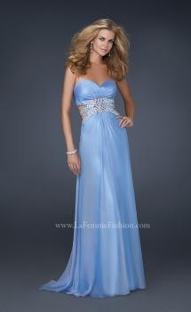 Picture of: Chiffon Prom Dress with Multiple Straps and Beading in Blue, Style: 17203, Main Picture