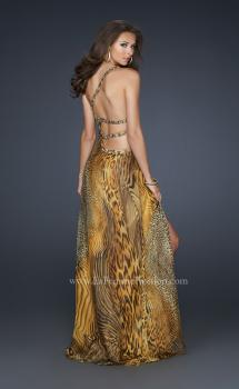 Picture of: Long Printed Prom Dress with Detailed Beaded Straps in Gold, Style: 17207, Main Picture