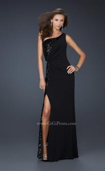 Picture of: Jersey Sequined Prom Dress with Open Back and Slit, Style: 17224, Main Picture