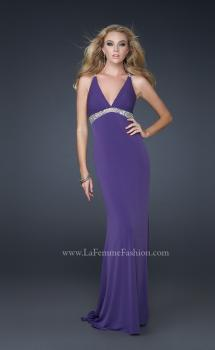 Picture of: Jersey Prom Dress with Criss Cross Open Back and Gems in Purple, Style: 17255, Detail Picture 1
