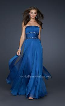 Picture of: Simple Long Prom Dress with Beaded Waist in Blue, Style: 17264, Main Picture