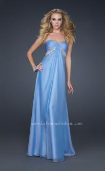 Picture of: Full Length Chiffon Dress with Exposed Back and Pleats in Blue, Style: 17318, Main Picture