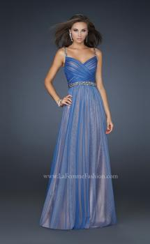 Picture of: V Neck Prom Gown with Beaded Waistband and Pleats, Style: 17324, Main Picture