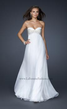Picture of: Long Strapless Chiffon Gown with Beaded Detail in White, Style: 17332, Main Picture