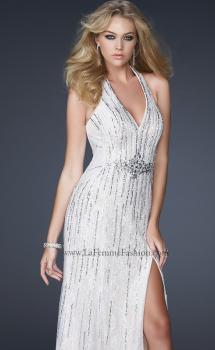 Picture of: Halter Tulle Prom Dress with V Neckline and Sequins in White, Style: 17434, Main Picture