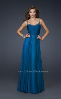 Picture of: Scoop Neck Chiffon Prom Dress with Pleated Center Front in Blue, Style: 17435, Main Picture