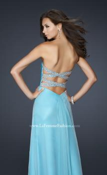 Picture of: Long Chiffon Prom Dress with Layered Bust and Pleats in Blue, Style: 17437, Main Picture