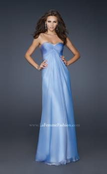 Picture of: Strapless Chiffon Gown with Elegant Draped Fit in Blue, Style: 17443, Main Picture