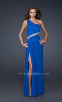 Picture of: One Shoulder Strap Net Dress with Open Back and Beads in Blue, Style: 17445, Main Picture