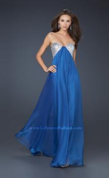 Picture of: Sequined Bust Chiffon Prom Dress with Double Strap Back in Blue, Style: 17461, Main Picture