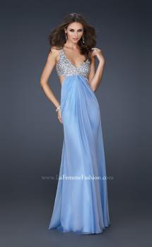 Picture of: Full Length Chiffon Gown with Beaded Bra Shaped Top, Style: 17472, Main Picture