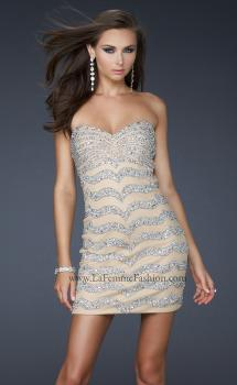 Picture of: Net Strapless Prom Dress with Accent Beading in Nude, Style: 17493, Main Picture