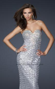 Picture of: Stretch Sequin Mermaid Prom Dress with Beaded Detail in Silver, Style: 17495, Main Picture