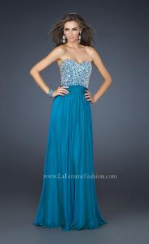 Picture of: Strapless Chiffon Dress with Pleated Waistband in Blue, Style: 17498, Main Picture