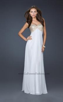 Picture of: Patterned Chiffon Prom Dress with Embellished Bust in White, Style: 17499, Main Picture