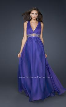 Picture of: Deep V Neck Chiffon Prom Dress with Pleating in Purple, Style: 17503, Main Picture