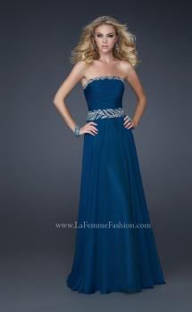 Picture of: Strapless Chiffon Gown with Embellished Waistband in Blue, Style: 17505, Main Picture