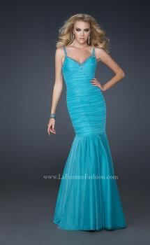 Picture of: Form Fitting Mermaid Dress with Beaded Neckline in Blue, Style: 17508, Main Picture
