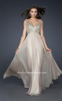 Picture of: V Neck Chiffon Prom Dress with Sequins and Pleating in Nude, Style: 17514, Main Picture