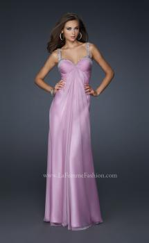 Picture of: Full Length Chiffon Prom Dress with Pleated Bust and Beading in Purple, Style: 17530, Main Picture