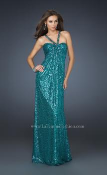Picture of: Full Length Sequin Halter Dress with Diamond Open Back, Style: 17538, Main Picture