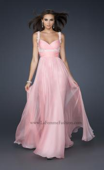 Picture of: Empire Waist Chiffon Prom Gown with Embellishments in Pink, Style: 17542, Main Picture