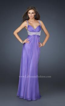 Picture of: Glam Chiffon Prom Gown with Embellished Waistband in Purple, Style: 17543, Main Picture