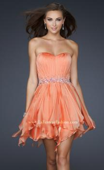Picture of: Chiffon Cocktail Dress with Beaded Waist and Ruffles in Orange, Style: 17544, Main Picture