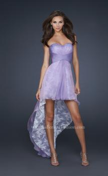 Picture of: Strapless Prom Dress with Corset Bodice and High Low Hem in Purple, Style: 17576, Main Picture