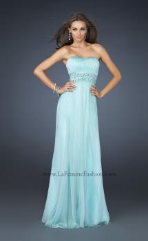 Picture of: Full Length Strapless Dress with Embellished Waistband in Blue, Style: 17623, Main Picture