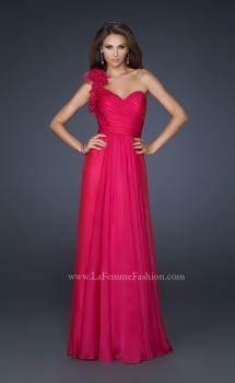 Picture of: Glam Chiffon Dress with Floral One Shoulder Strap in Pink, Style: 17635, Main Picture